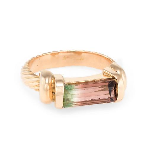 18k Gold Watermelon Tourmaline Ring