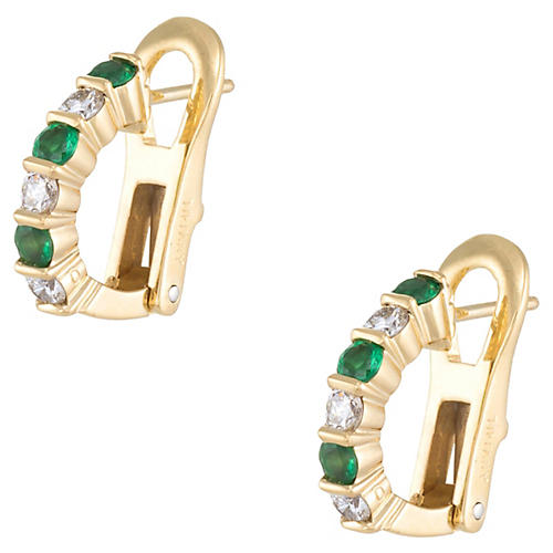 Emerald & Diamond Shrimp Earrings