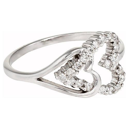 14k Gold Double Heart Diamond Ring