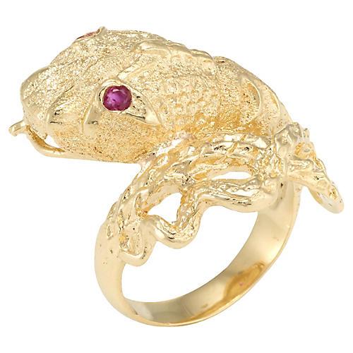 18k Gold Snake Serpent Ring