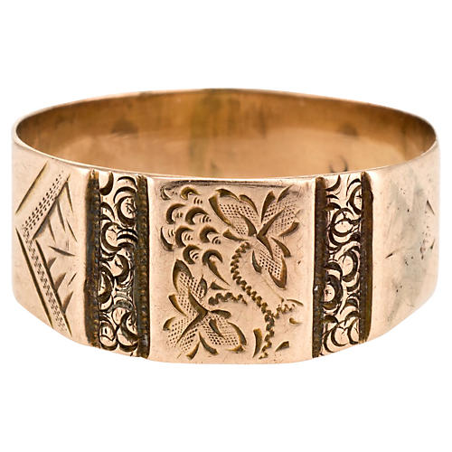 Antique Victorian Etched Wedding Band
