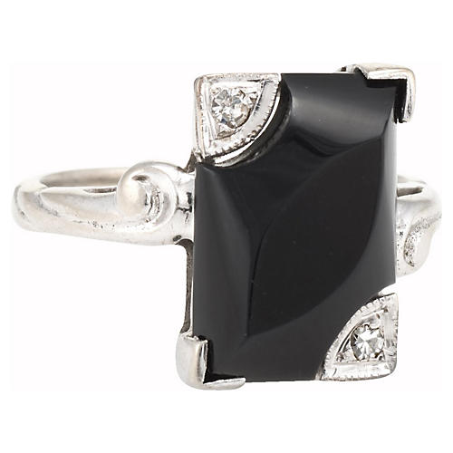 10k Onyx Diamond Square Cocktail Ring
