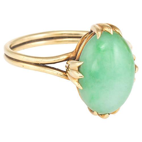 14K Gold Jade Cocktail Ring