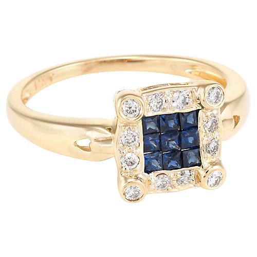 14k French Cut Sapphire Diamond Ring
