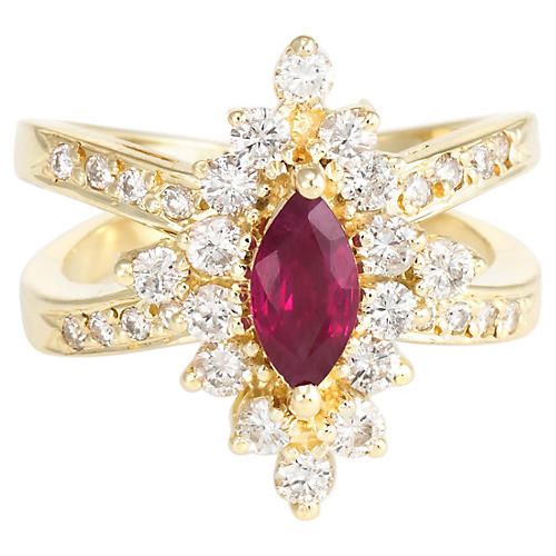 14K Natural Ruby & Diamond Cocktail Ring