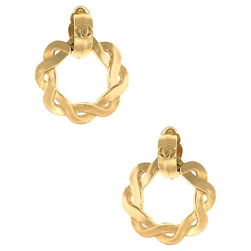 Chanel Braided Hoop Earrings