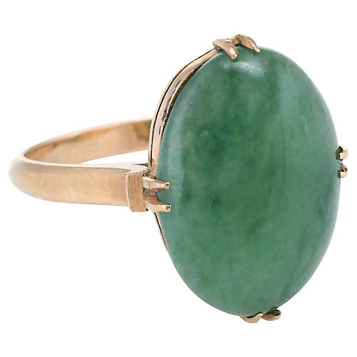 18k Yellow Gold Jade Cocktail Ring