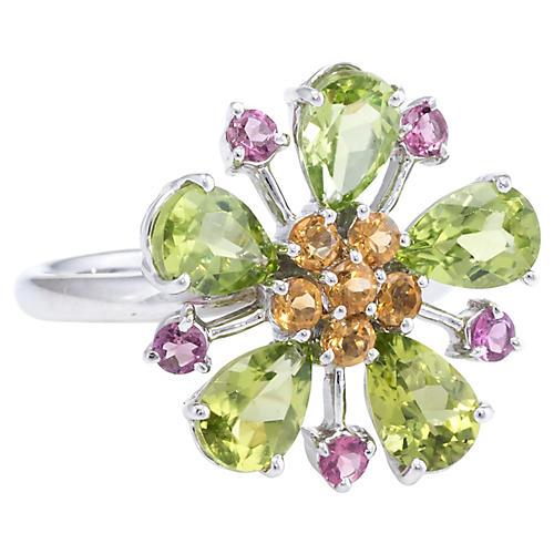 Peridot Citrine Flower Ring