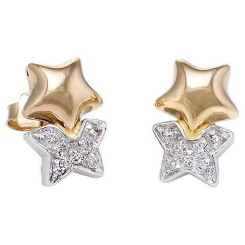18k Two Tone Diamond Star Stud Earrings