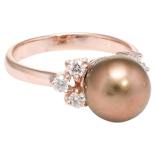 Cultured Brown Pearl & Diamond Ring