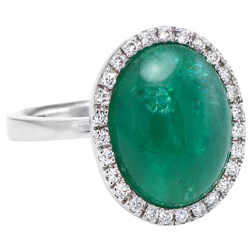 Emerald & Diamond Halo Cocktail Ring