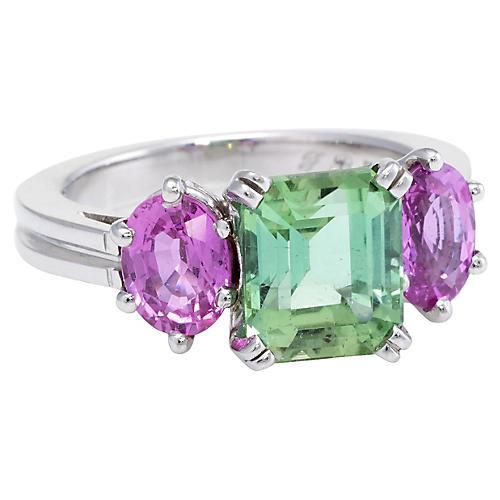 Green Tourmaline & Pink Sapphire Ring