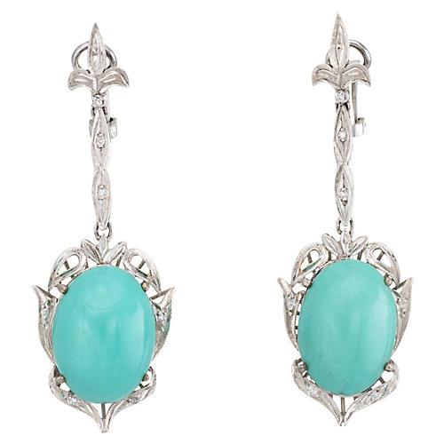 Fleur de Lis Turquoise Diamond Earrings