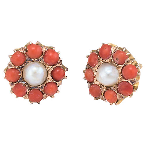 Coral Pearl Round Stud Earrings