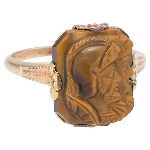 Double Intaglio Tigers Eye Ring