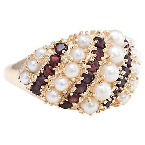 Garnet & Pearl Dome Wide Band Ring