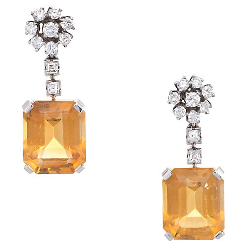 JE Caldwell Citrine & Diamond Earrings