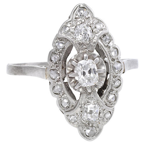 Art Deco Platinum Diamond Navette Ring