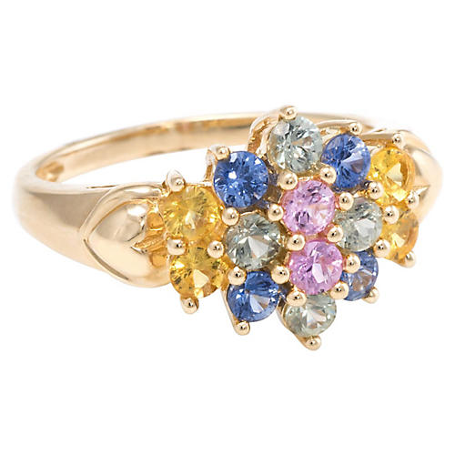 14k Rainbow Sapphire Cluster Ring