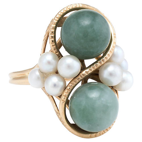 Ming's Jade Cultured Pearl Cocktail Ring