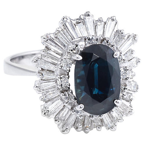 Sapphire Diamond Ballerina Cocktail Ring