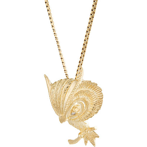 14k Diamond Eyes Owl Necklace