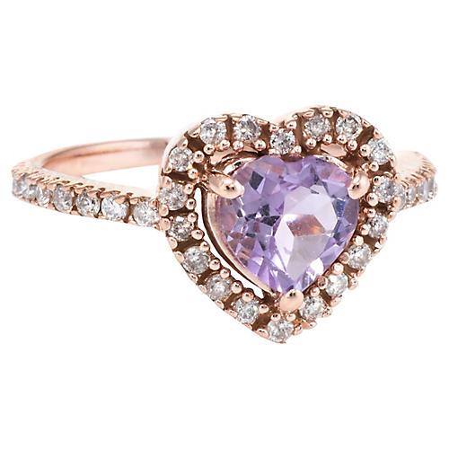 Amethyst Diamond Heart Pinky Ring