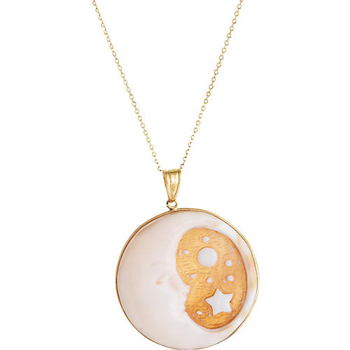 Moon Face Cameo Stars Pendant Necklace