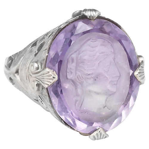 Art Deco Carved Amethyst Intaglio Ring