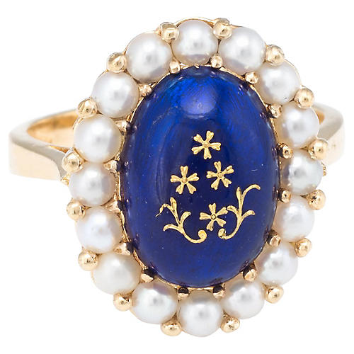 Enamel Cultured Pearl Cocktail Ring