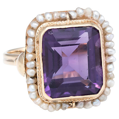 Amethyst Seed Pearl Square Cocktail Ring