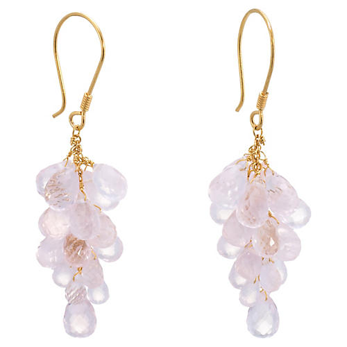 Rose Quartz Briolette Drop Earrings