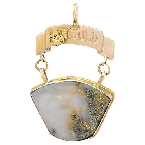 14k Victorian Gold in Quartz Pendant