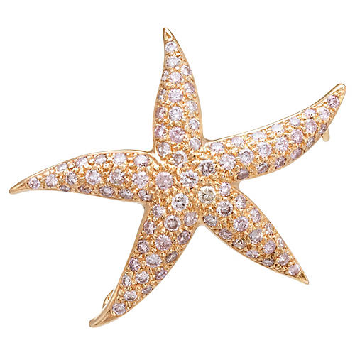 Rose Gold & Pink Diamond Starfish Brooch