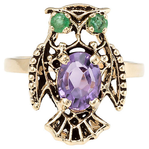 14K Gold Amethyst & Emerald Owl Ring