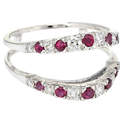 14K Diamond Ruby Wedding Ring Guard Wrap