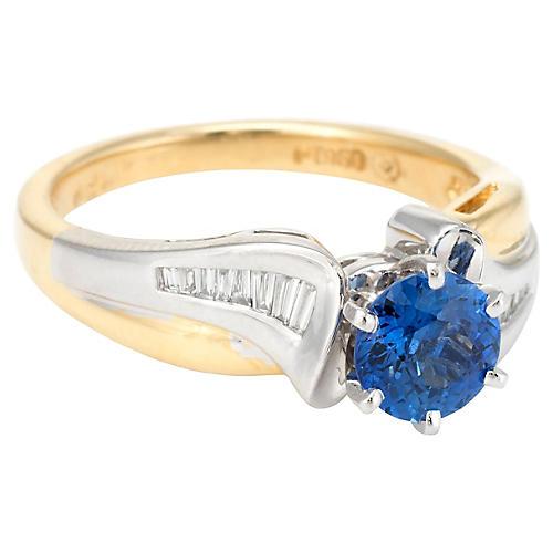 18K & Platinum Sapphire Diamond Ring