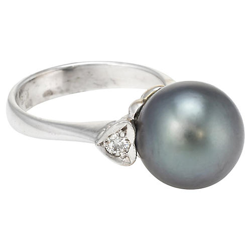 Cultured Tahitian Black Pearl Ring