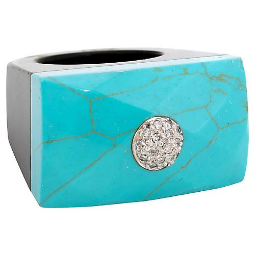 East West Turquoise Onyx Diamond Ring