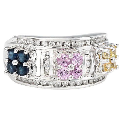 Colored Sapphire Diamond Flower Ring