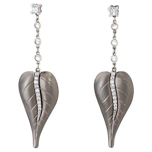 Platinum Diamond Leaf Dangle Earrings