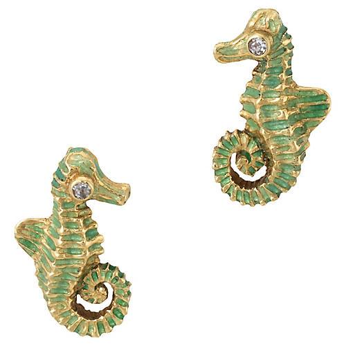 18K Gold & Diamond Seahorse Earrings