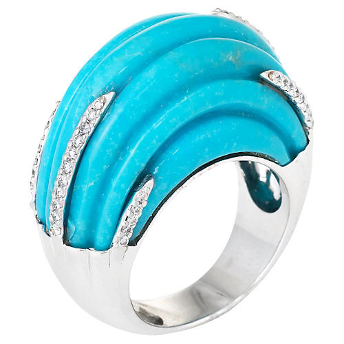 Fluted Turquoise Diamond Cocktail Ring
