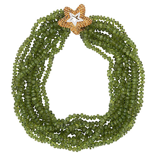 Multi-Strand Peridot Starfish Necklace