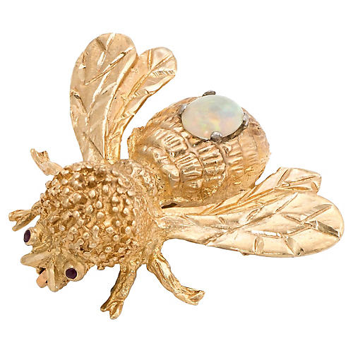 14K Opal & Garnet Bumble Bee Brooch
