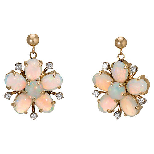 Forget Me Not Opal Diamond Earrings