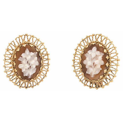 Bouquet of Flowers Cameo Clip Earrings