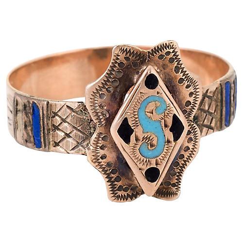 Victorian Letter S Enamel Initial Ring