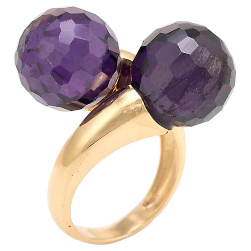 18K Amethyst Bypass Double Orb Ring