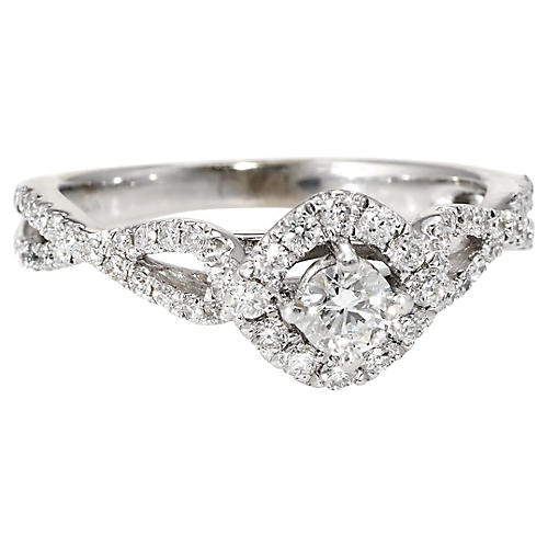 Diamond Halo Engagement Ring White Gold
